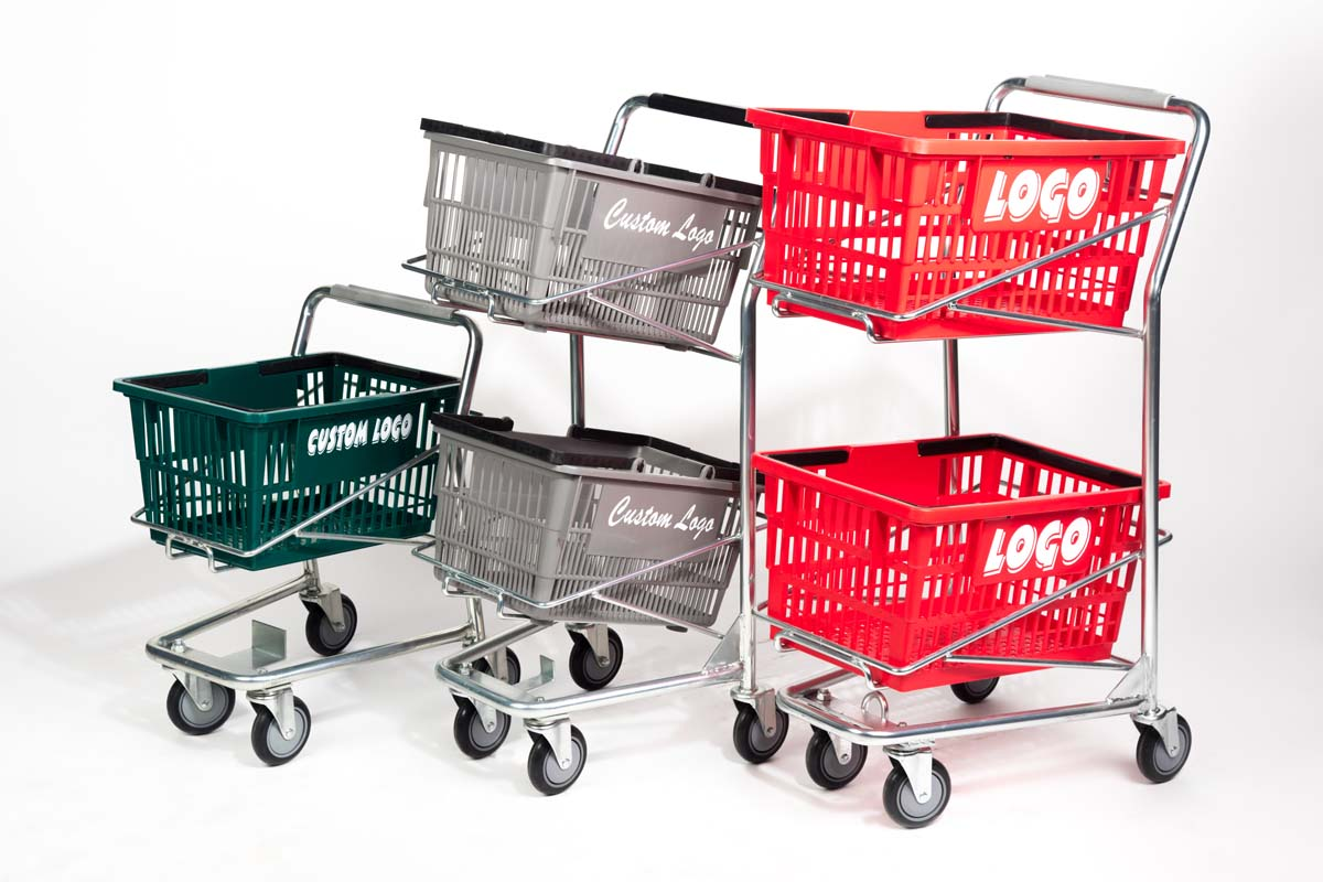 Three basket carts in different sizes: small, medium, big