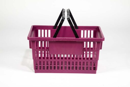 Big plum color shopping basket side view