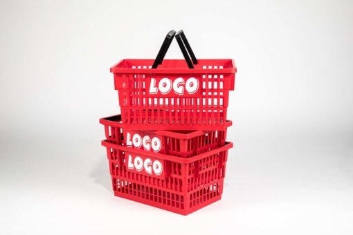 Big red plastick basket with customizable logo