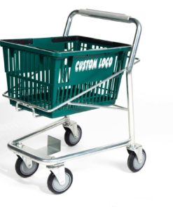 Small cart for kids with green plastic basket