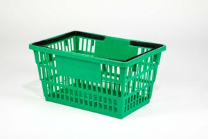 large apple green plastic basket