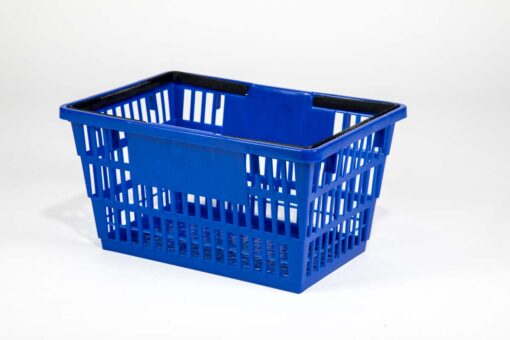 large dark blue plastic basket