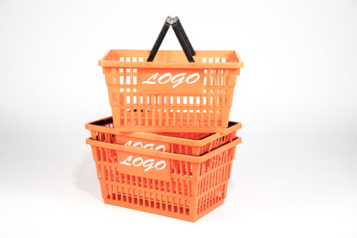 Large orange basket with white logo