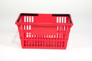 large red plastic shopping basket