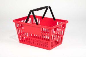 larg red plastic basket