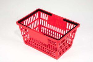 Larg red plastic basket top side wiev