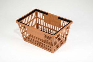 large tan basket top side view
