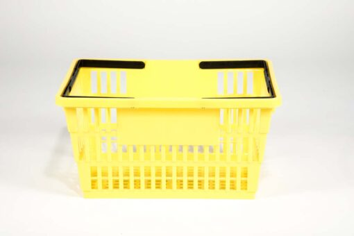 Large yellow plastic shopping basket side view with double black handgrips