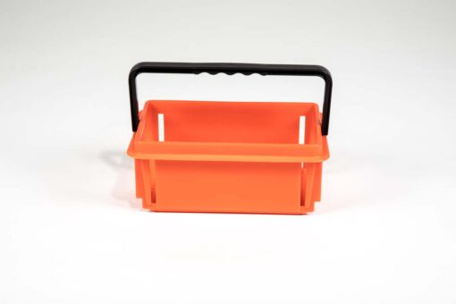 Orange recycled plastic mini shopping basket frontal view