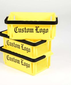 Three yellow mini baskets with black logo