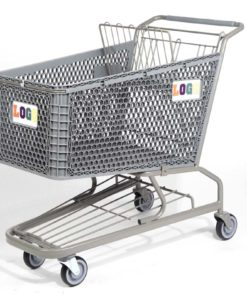 Big grey plastic cart with rainbow logo