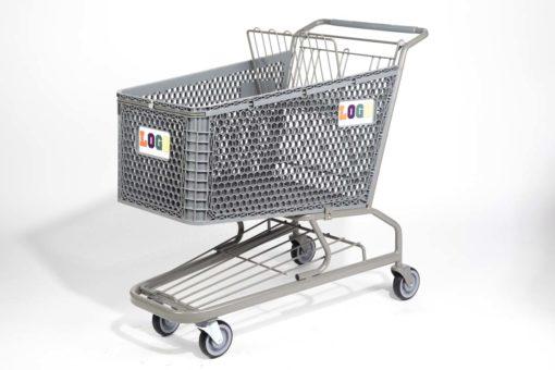 Big grey plastic cart with rainbow logo