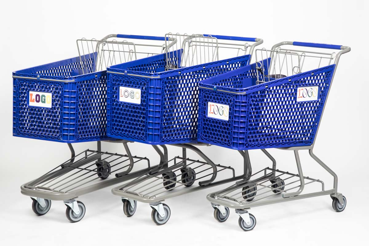 Three blue plastic carts with variable logo options
