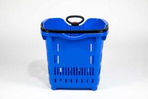 blue plastic roller basket front view