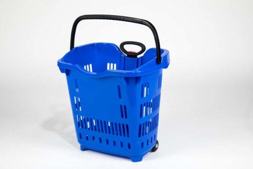 blue plastic roller basket with black handles