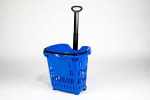 blue plastic roller basket