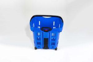 blue plastic roller basket top view