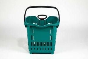 emerald plastic roller basket front view