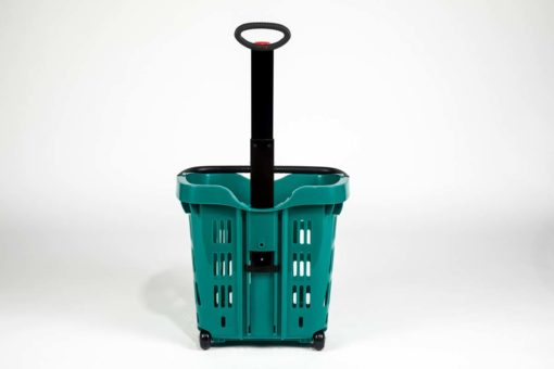 Emerald roller shopping basket black handle view