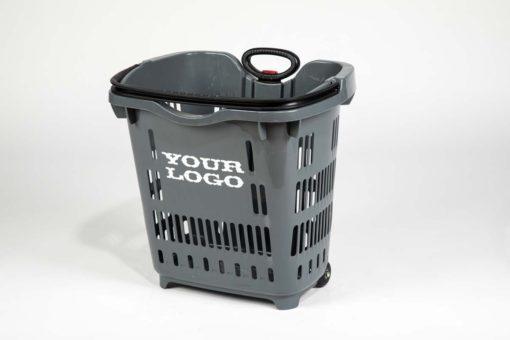 Plastic roller basket grey colored