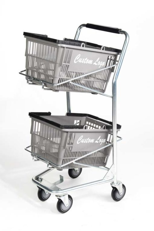 Standard double plastic basket iron cart