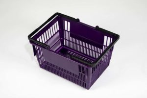 Tall grape plastic basket top side view