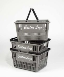 Three tall grey plastic baskets with white customizable logo