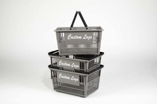 Three tall grey plastic baskets with white customizable logo
