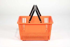 Tall dark orange plastic shopping basket