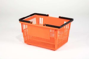 Tall orange plastic shopping basket side view with double black handgrips