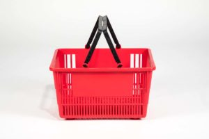 Tall red plastic shopping basket