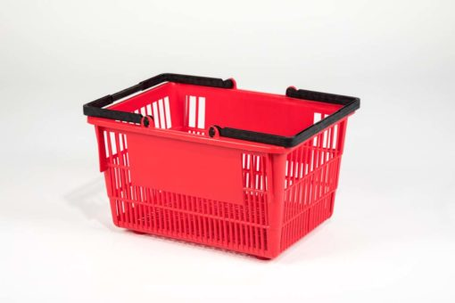 Tall red plastic shopping basket side view